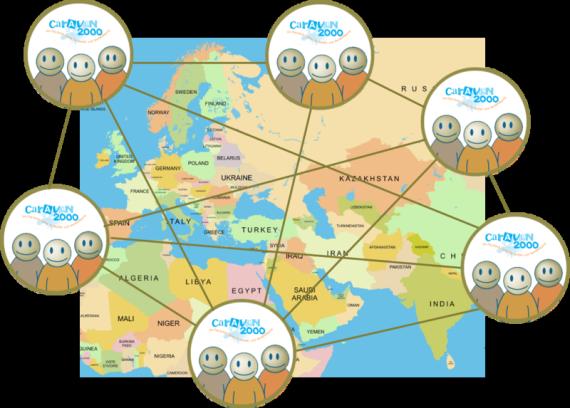 Netzwerk wird mit Weltkarte und grafische Bilder dargestellt