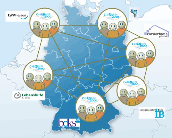 Abbildung der Deutschland Karte mit Mitglieder Logos als Netzwerk dargestellt