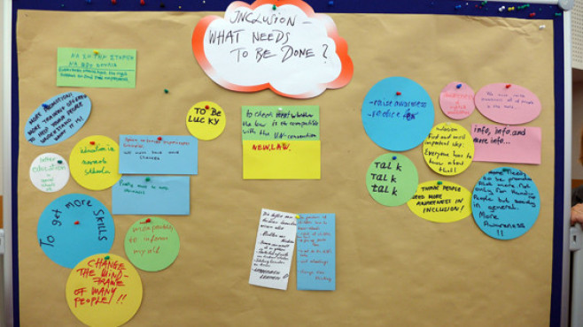 Photo of an ideas bourd about inclusion created at the conference